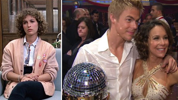 Jennifer Grey appears in a scene from the 1986 movie 'Ferris Bueller's Day Off.' / Jennifer Grey appears alongside Derek Hough after they win 'Dancing With The Stars' on Nov. 23, 2010.'