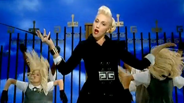 Gwen Stefani appears in a scene from her 2006 music video 'Wind It Up.'