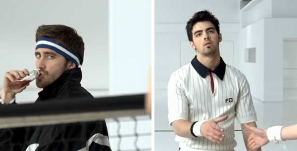 Jake Gyllenhaal and Joe Jonas appear in Vampire Weekend&#39;s music video &#39;Giving Up The Gun,&#39; released in 2010. Gyllenhaal and Jonas appear as tennis players who are competing in an indoor tennis tournament against a female tennis player while RZA of the Wu Tang Clan appears to officiate the match. Gyllenhaal is known for his work in films such as &#39;Donnie Darko&#39; and &#39;Love and Other Drugs.&#39; Jonas is known for his musical career with &#39;The Jonas Brothers,&#39; and most recently, his solo career. <span class=meta>(XL Records)</span>