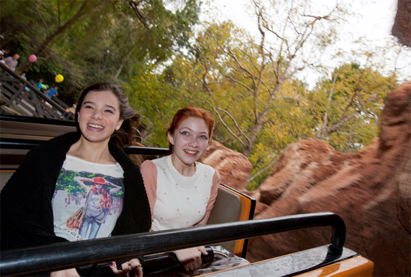 &#39;True Grit&#39; actress Hailee Steinfeld &#40;left&#41; and fashion blogger Tavi Gevinson ride Big Thunder Mountain Railroad at Disneyland park in Anaheim, California, on Thursday, Nov. 10, 2011. <span class=meta>(Paul Hiffmeyer &#47; Disneyland)</span>