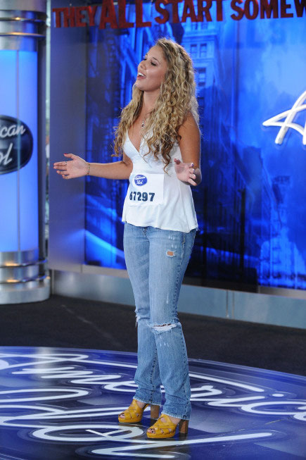 "<div class=""meta ""><span class=""caption-text "">Haley Reihnhart, a 20-year-old from Wheeling, IL, was made an 'American Idol' Top 24 finalist. (Pictured: Haley Reihnhart performs in front of the judges on 'American Idol' on an episode that aired on Jan. 26, 2011.) (Michael Becker / FOX)</span></div>"