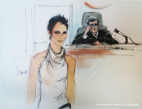 Halle Berry appears in a courtroom sketch drawn by Mona S. Edwards on Friday, August 17, 2012.