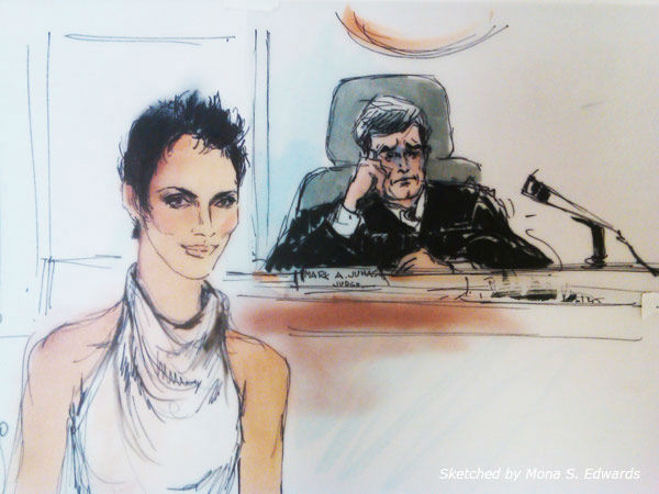 Halle Berry appears in a courtroom sketch drawn...