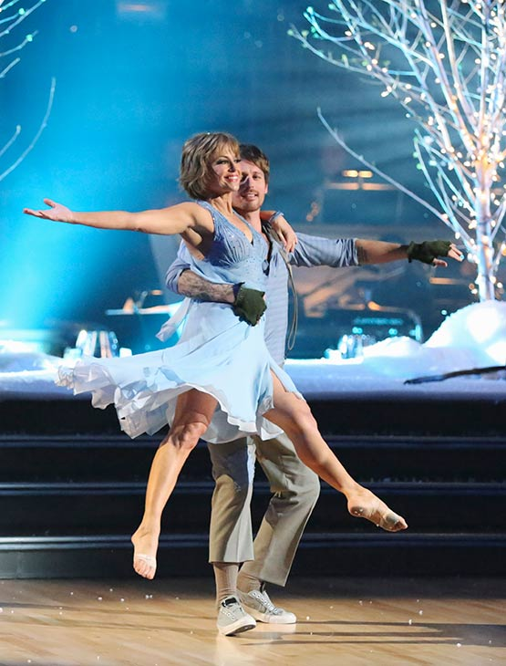 "<div class=""meta image-caption""><div class=""origin-logo origin-image ""><span></span></div><span class=""caption-text"">Olympic figure skater Dorothy Hamill and her partner Tristan Macmanus received 21 out of 30 points from the judges for their Contemporary routine on the season premiere of 'Dancing With The Stars,' which aired on March 18, 2013. (ABC Photo)</span></div>"