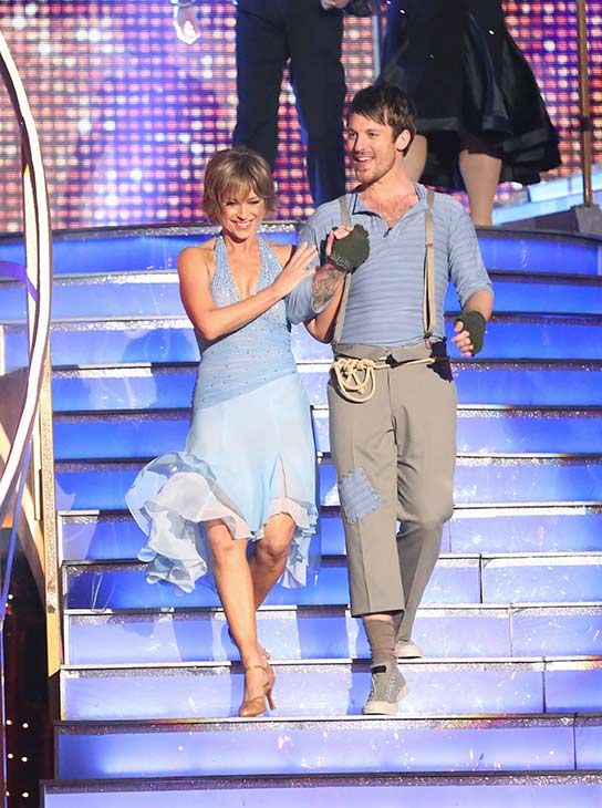 Olympic figure skater Dorothy Hamill and her partner Tristan Macmanus prepare to dance on the season 16 premiere of &#39;Dancing With The Stars,&#39; which aired on March 18, 2013. They received 21 out of 30 points from the judges for their Contemporary routine. <span class=meta>(ABC Photo &#47; Adam Taylor)</span>
