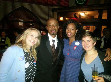 Old school rapper MC Hammer celebrates with friends after President Barack Obama is re-elected on Nov. 6, 2012.