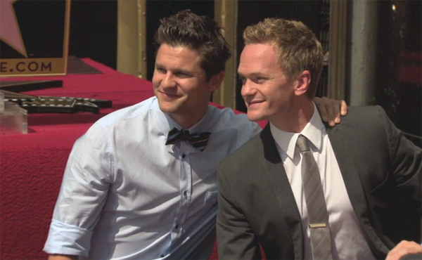 Neil Patrick Harris poses with his life partner David Burtka on his star on the Walk of Fame. The actor received the honor on Sept. 15, 2011. <span class=meta>(Hollywood Chamber of Commerce)</span>