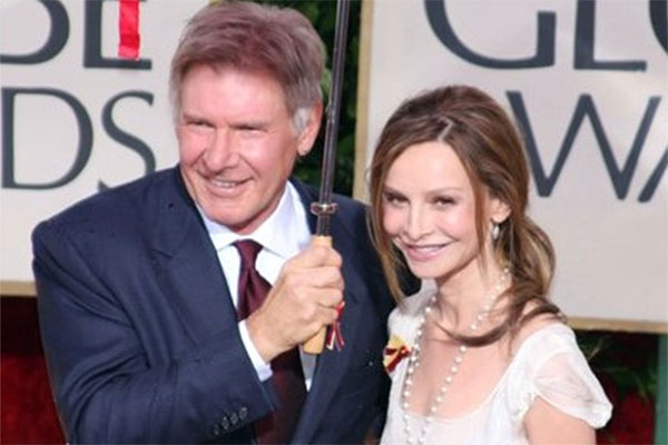 Harrison Ford appears in a photo with wife Calista Flockhart at the Golden Globe Awards on Jan. 17, 2010.
