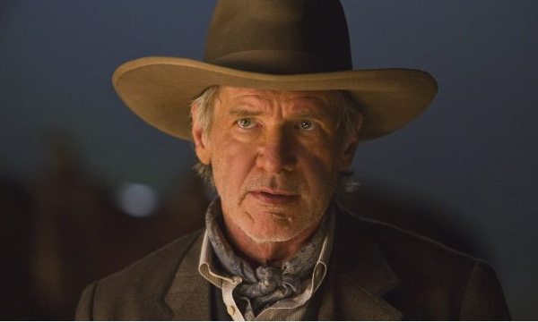 Harrison Ford appears in a scene from the 2011 film 'Cowboys and Aliens.'