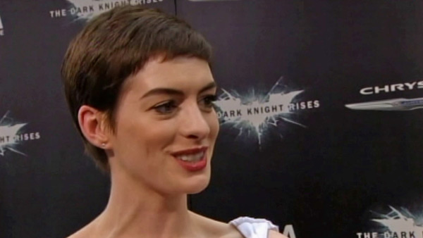 Anne Hathaway talks to reporters at the New York...