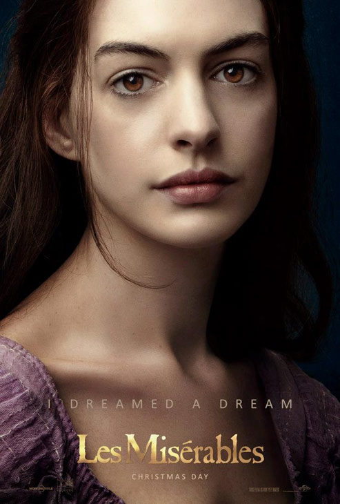 Anne Hathaway appears as Fantine in