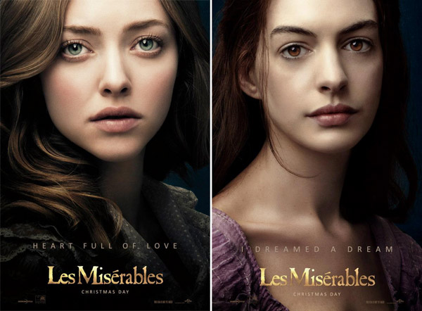 Anna Hathaway (right) and Amanda Seyfried appear in this official poster for the 2012 movie Les Miserables. - Provided courtesy of Working Title Films / Cameron Mackintosh Ltd. / Universal Pictures