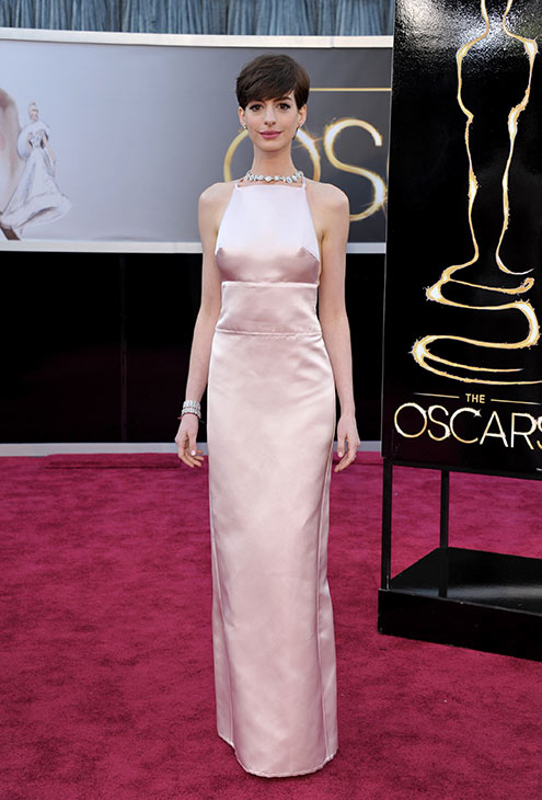 Anne Hathaway arrives at the 2013 Oscars at the...