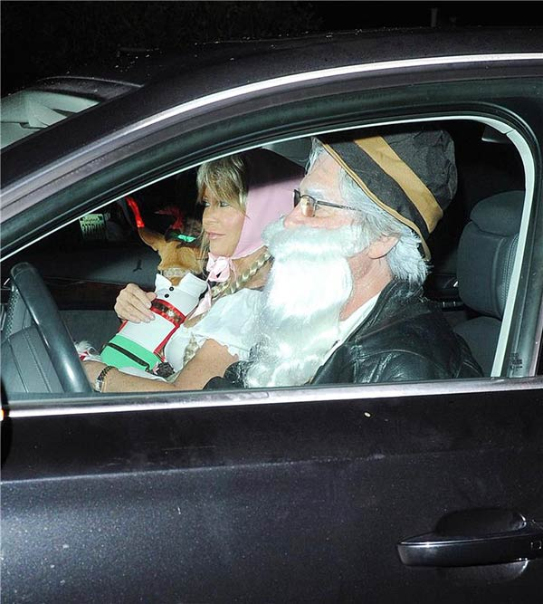 Goldie Hawn, mother of Kate Hudson, and partner Kurt Russell are seen in a car near Hudson&#39;s Halloween party in Santa Monica, California on Oct. 26, 2013. <span class=meta>(Daniel Robertson &#47; Startraksphoto.com)</span>