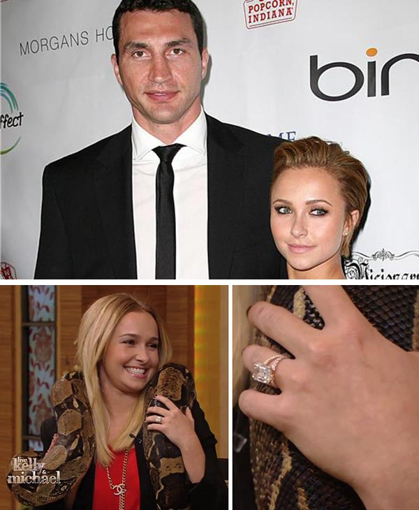 "<div class=""meta image-caption""><div class=""origin-logo origin-image ""><span></span></div><span class=""caption-text"">Hayden Panettiere on 'Nashville' is engaged to Wladimir Klitschko, a Ukranian boxer. The news was reported in late March 2013 but the actress only confirmed the news on Oct. 9, 2013 on 'LIVE! with Kelly and Michael.' The two have dated on and off since at least 2010.  (Pictured: Hayden Panettiere and Wladimir Klitschko attend the Global Home Tree event celebrating the 40th anniversary of Earth Day at the JW Marriott in Los Angeles on April 22, 2010.) (Norman Scott / Startraksphoto.com / Disney/ABC Television Group)</span></div>"