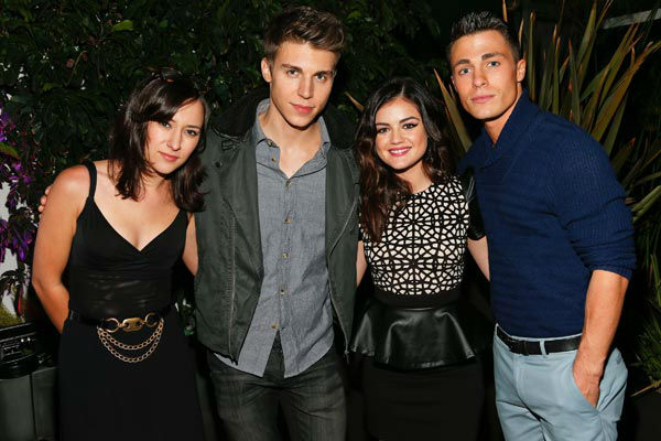 "<div class=""meta ""><span class=""caption-text "">Actors Colton Haynes, Zelda Williams, Nolan Gerard Funk and cover girl Lucy Hale attend the launch party for Nylon Magazine's December/January 2013 issue at The Wine Gallery at The Andaz West Hollywood on Dec. 7, 2012. (Photo/WireImage)</span></div>"