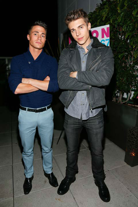 Actors Colton Haynes and Nolan Gerard Funk attend the launch party for Nylon Magazine&#39;s December&#47;January 2013 issue at The Wine Gallery at The Andaz West Hollywood on Dec. 7, 2012. <span class=meta>(Photo&#47;WireImage)</span>