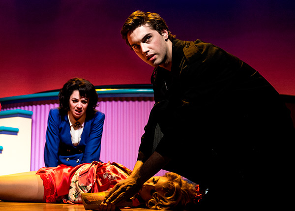 This image released by Vivacity Media Group shows Barrett Wilbert Weed as Veronica and Ryan McCartan as J.D., standing over Jessica Keenan Wynn as Heather Chandler -- who they just murdered -- in a scene from the musical &#39;Heathers&#39; performing at New World Stages in New York. <span class=meta>(AP Photo &#47; Vivacity Media Group, Chad Batka)</span>