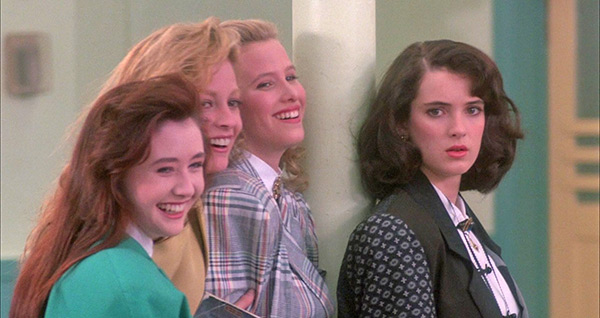 "<div class=""meta image-caption""><div class=""origin-logo origin-image ""><span></span></div><span class=""caption-text"">L-R: Shannen Doherty (Heather Duke), Lisanne Falk (Heather McNamara) and Kim Walker (Heather Chandler) mock a fellow student as Winona Ryder (Veronica Sawyer) looks on in this a scene from the 1988 movie 'Heathers.' (New World Pictures / Anchor Bay Entertainment)</span></div>"