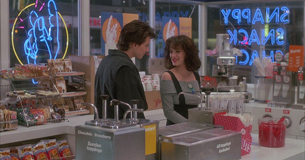 "<div class=""meta image-caption""><div class=""origin-logo origin-image ""><span></span></div><span class=""caption-text"">, in this scene from the 1988 movie 'Heathers,' Winona Ryder (Veronica Sawyer) and Christian Slater (J.D.) flirt inside the Snappy Snack Shack convenience store, where she is supposed to get Corn Nuts for Heather Chandler (not pictured) before heading to a college party. (New World Pictures / Anchor Bay Entertainment)</span></div>"