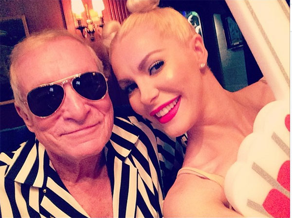 Playboy founder Hugh Hefner and wife Crystal parody Robin Thicke&#39;s and Miley Cyrus&#39; controversial 2013 MTV VMAs performance, in a pre-Halloween photo posted on Crystal&#39;s Instagram page on Oct. 26, 2013. <span class=meta>(instagram.com&#47;p&#47;f9EdTjkSOP&#47; instagram.com&#47;crystalhefner)</span>