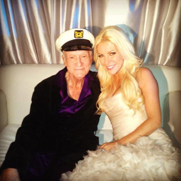 Hugh Hefner posted on Twitter this photo of himself with his new bride Crystal Harris after their wedding at the Playboy Mansion on Dec. 31, 2012.  &#39;Happy New Year from Mr. and Mrs. Hugh Hefner! &#39; Hefner Tweeted. <span class=meta>(twitter.com&#47;hughhefner&#47;status&#47;286008201080623104)</span>