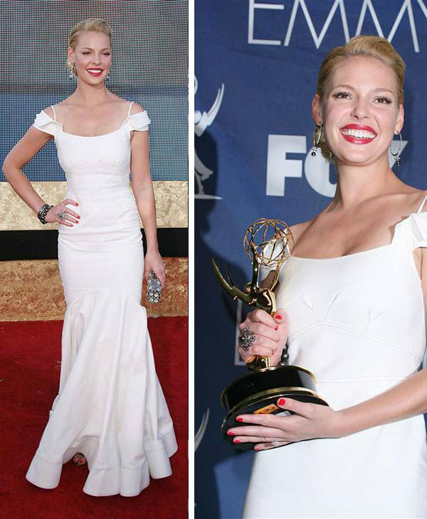 Katherine Heigl appears at the 2007 Emmy Awards in Los Angeles on Sept. 16, 2007. She won an Emmy for her role as Izzie Stevens on ABC&#39;s &#39;Grey&#39;s Anatomy.&#39; <span class=meta>(Jen Lowery &#47; Startraksphoto.com)</span>