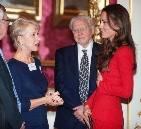 Dame Helen Mirren chats with Kate Middleton, aka Kate, Duchess of Cambridge, at the Reception for the Dramatic Arts at Buckingham Palace on Feb. 17, 2014.