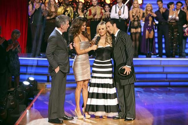 "<div class=""meta ""><span class=""caption-text "">Brazilian auto racing driver Helio Castroneves and his partner Chelsie Hightower react to being eliminated on 'Dancing With The Stars: The Results Show' on Tuesday, Oct. 9, 2012.  The pair received 25.5 out of 30 points from the judges for their Quickstep on 'Dancing With The Stars: All-Stars,' which aired on October 8, 2012.  (ABC Photo)</span></div>"