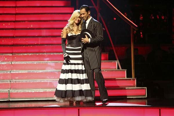 Brazilian auto racing driver Helio Castroneves and his partner Chelsie Hightower react to being eliminated on &#39;Dancing With The Stars: The Results Show&#39; on Tuesday, Oct. 9, 2012.  The pair received 25.5 out of 30 points from the judges for their Quickstep on &#39;Dancing With The Stars: All-Stars,&#39; which aired on October 8, 2012.  <span class=meta>(ABC Photo)</span>