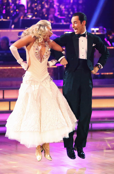 Helio Castroneves and Chelsie Hightower appear in a still from 'Dancing Wi
