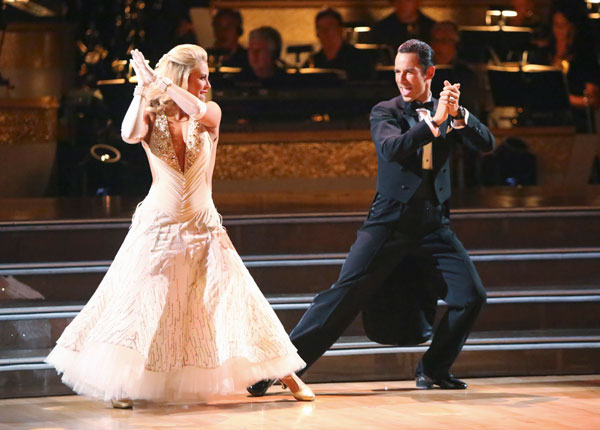 "<div class=""meta ""><span class=""caption-text "">Brazilian auto racing driver Helio Castroneves and his partner Chelsie Hightower received 21.5 out of 30 points from the judges for their Fox Trot on the season premiere of 'Dancing With The Stars: All-Stars,' which aired on September 24, 2012.  (ABC / Adam Taylor)</span></div>"
