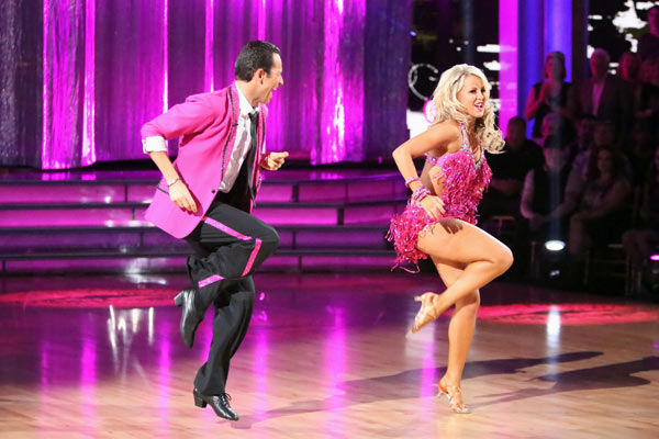 Brazilian auto racing driver Helio Castroneves and his partner Chelsie Hightower received 23 out of 30 points from the judges for their Jive on week two of 'Dancing With The Stars: All-Stars,' which aired on Oct. 1, 2012.