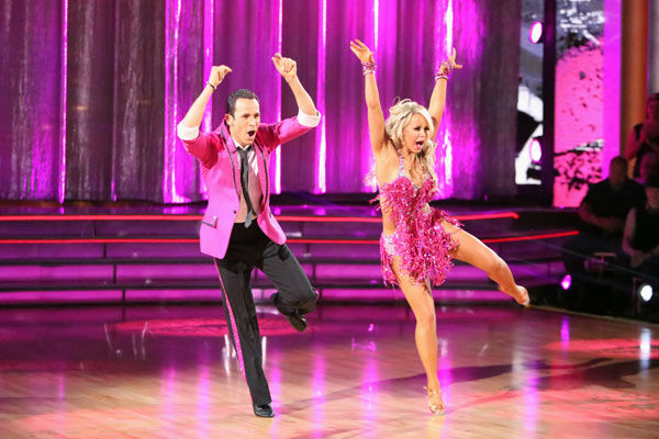 Brazilian auto racing driver Helio Castroneves and his partner Chelsie Hightower received 23 out of 30 points from the judges for their Jive on week two of &#39;Dancing With The Stars: All-Stars,&#39; which aired on Oct. 1, 2012. <span class=meta>(ABC &#47; Adam Taylor)</span>