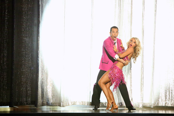 "<div class=""meta ""><span class=""caption-text "">Brazilian auto racing driver Helio Castroneves and his partner Chelsie Hightower received 23 out of 30 points from the judges for their Jive on week two of 'Dancing With The Stars: All-Stars,' which aired on Oct. 1, 2012. (ABC / Adam Taylor)</span></div>"