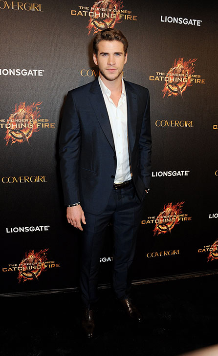 Liam Hemsworth arrives on the red carpet at Lionsgate&#39;s &#39;The Hunger Games: Catching Fire&#39; Cannes Party at Baoli Beach, sponsored by COVERGIRL, on May 18, 2013 in Cannes, France. <span class=meta>(Dave M. Benett &#47; Getty Images for Lionsgate)</span>