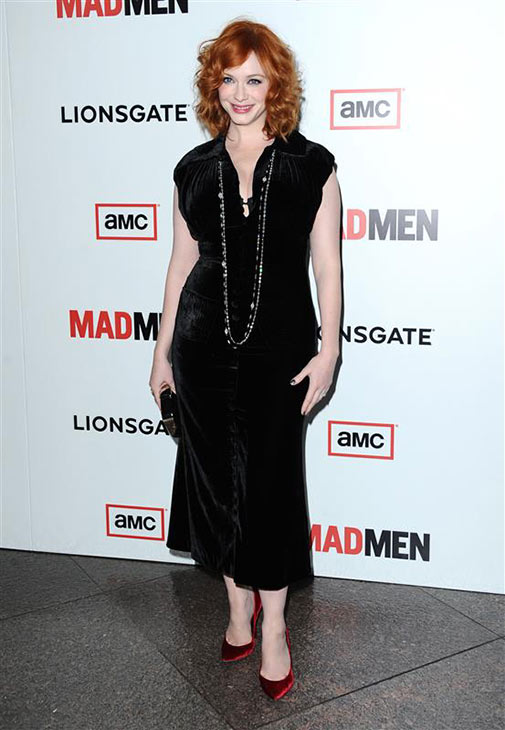 Christina Hendricks &#40;Joan on AMC&#39;s &#39;Mad Men&#39;&#41; wears a black L&#39;Wren Scott dress at the premiere of season 6 of &#39;Mad Men&#39; at the DGA Theater in Los Angeles on March 20, 2013. <span class=meta>(Sara De Boer &#47; Startraksphoto.com)</span>