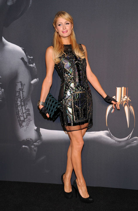 Television personality Paris Hilton arrives at a 'Lady Gaga Fame' fragrance launch event at the Guggenheim Museum on Thursday, Sept. 13, 2012 in New York.