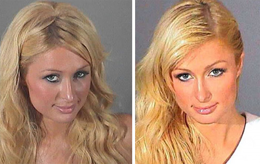 Paris Hilton's mug shot, taken in September 2006 following her arrest for reckless driving. /  Paris Hilton's mug shot, taken in June 2007.