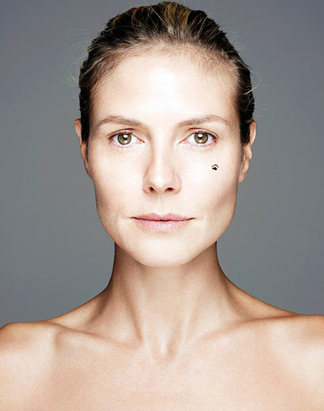 In late October 2012, Heidi Klum ditched the heavy makeup to star in the BBC Network's Children In Need 'BearFaced' campaign, a new feature promoting an annual celebrity-packed fundraising telethon broadcast by the UK network.