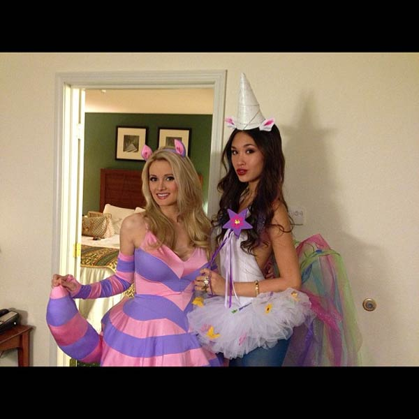 Holly Madison appears in a photo from her official Twitter page dressed as the Cheshire cat on October 27, 2012.