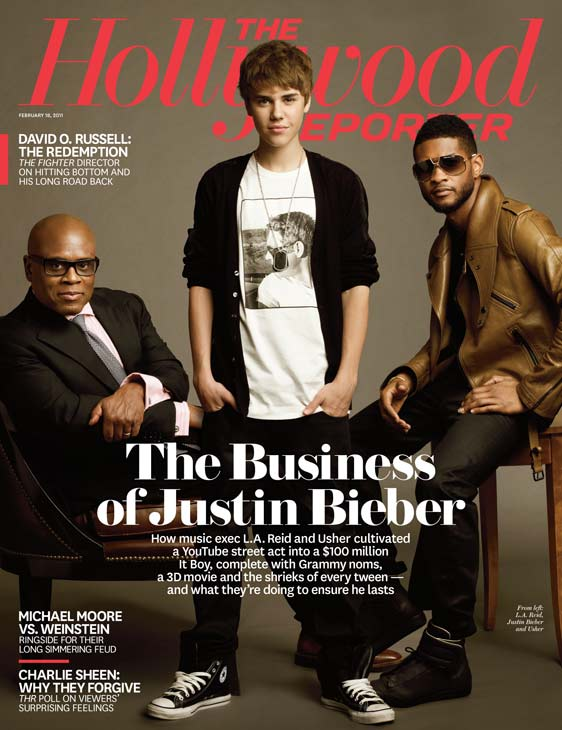 Justin Bieber, Antonio Reid and Usher on the cover of The Hollywood Reporter in February 2011.