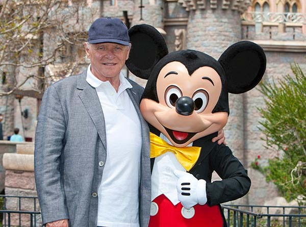 Sir Anthony Hopkins meets Mickey Mouse in front of Sleeping Beauty Castle at Disneyland park in Anaheim, California, on Monday, April 1, 2013. <span class=meta>(Paul Hiffmeyer &#47; Disneyland)</span>