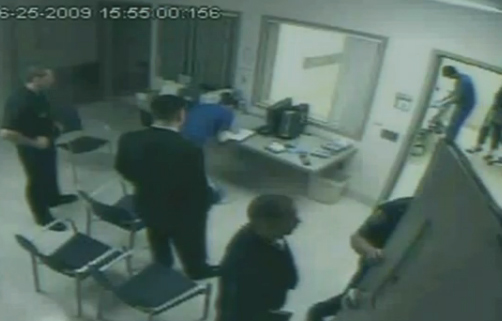 Sept. 29, 2011: The security video shows Michael Jackson's former bodyguard, Alberto Alvarez, as well as police officers at the scene at UCLA Medical Center where the singer was pronounced dead.