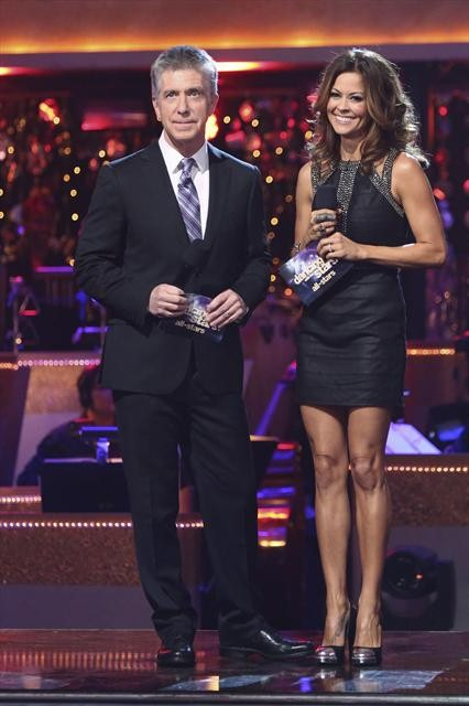 Hosts Tom Bergeron and Brooke Charvet appear in a still from 'Dancing With The Stars: All-Stars' on October 30, 2012.