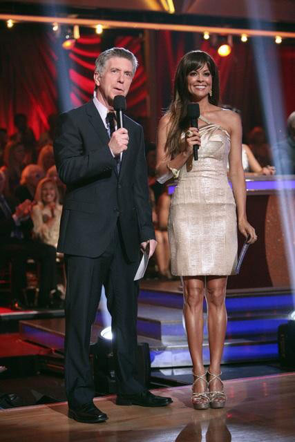 Hosts Brooke Burke Charvet and Tom Bergeron appear on &#39;Dancing With The Stars: The Results Show&#39; on Tuesday, May 8, 2012. <span class=meta>(OTRC)</span>