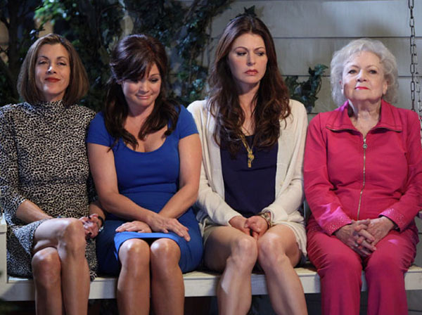 Wendie Malick, Valerie Bertinelli, Jane Leeves and Betty White appear in a scene from the TV Land comedy series 'Hot In Cleveland.'