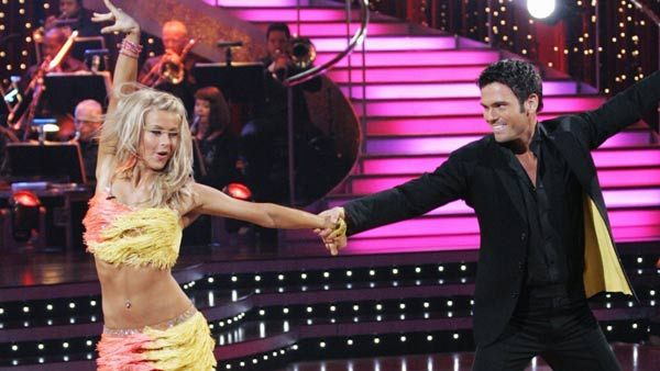 Julianne Hough won back-to-back titles on &#39;Dancing With The Stars&#39; seasons 4 and 5.Hough&#39;s season 4 partner was speed-skater Apolo Anton Ohno. She and Brazilian auto racing driver Helio Castroneves paired up for season 5. She and her partners received a perfect score at some point in the competition.&#40;Pictured: Julianne Hough appears in a photo from &#39;Dancing With The Stars&#39; in 2008.&#41; <span class=meta>(ABC)</span>