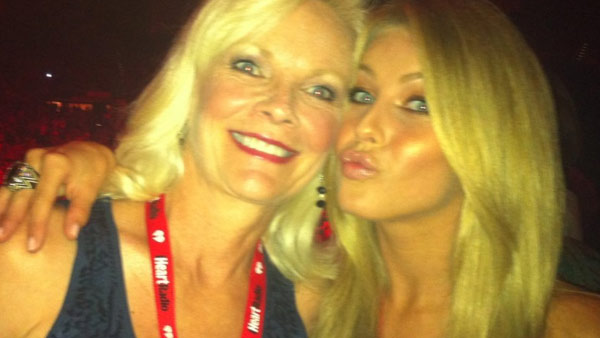Julianne Hough appears in a photo with her mom at the 2011 iHeartRadio music festival in Las Vegas.