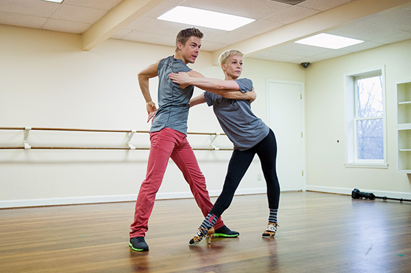 'Dancing With The Stars' season 16 cast members Kellie Pickler and Derek Hough rehearse ahead of the premiere on March 18,